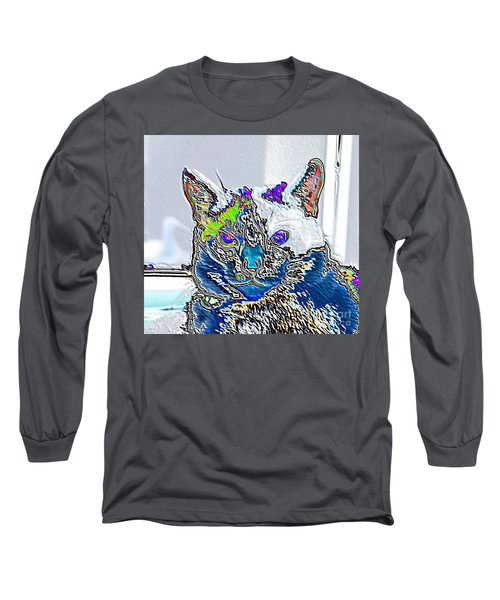 Stylized Cat Long Sleeve T-Shirt by Marilyn Carlyle Greiner