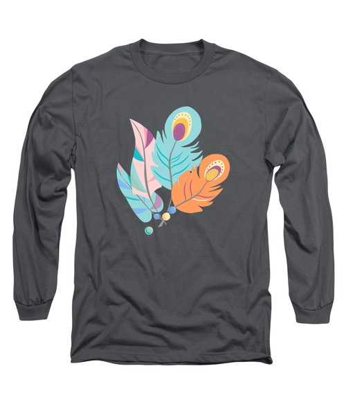 Stylized Peacock Feather Design Long Sleeve T-Shirt