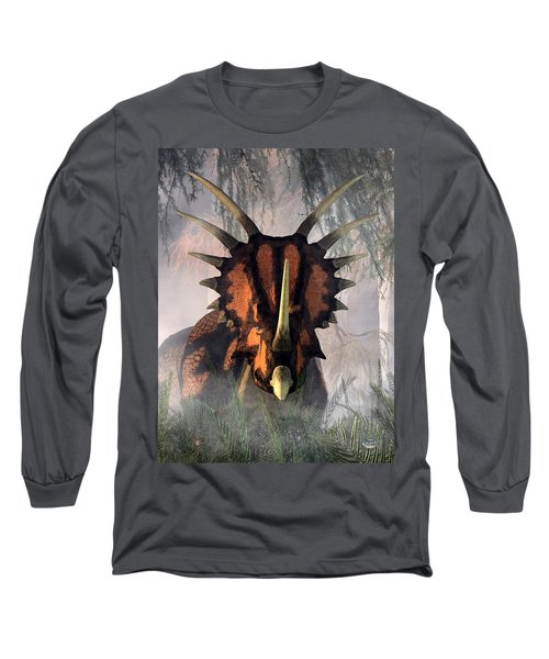 Styracosaurus In The Forest Long Sleeve T-Shirt