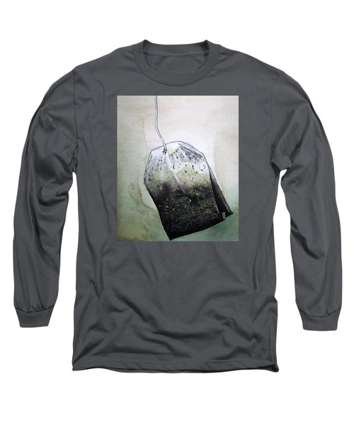 Submerged Tea Bag Long Sleeve T-Shirt by Mary Ellen Frazee