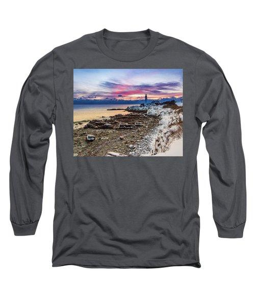 Subtle Sunrise At Portland Head Light Long Sleeve T-Shirt
