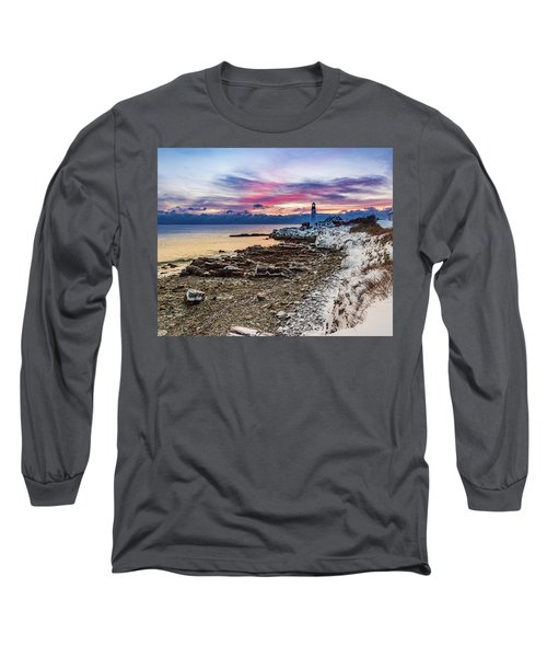 Subtle Sunrise At Portland Head Light Long Sleeve T-Shirt