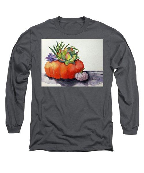 Succulents In Pumpkin Long Sleeve T-Shirt