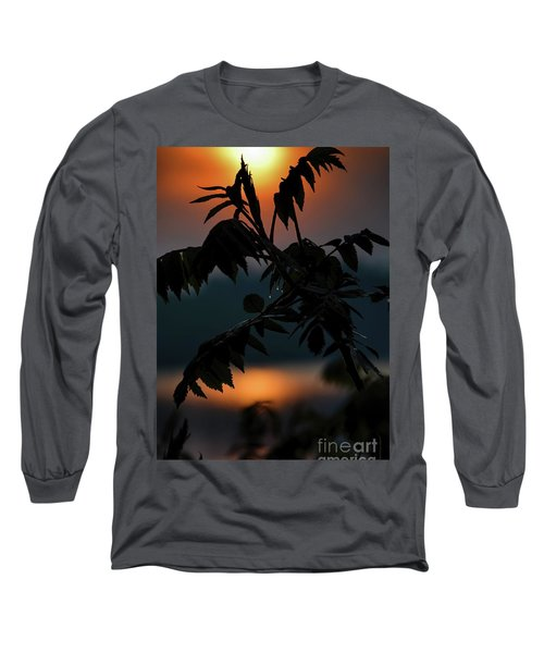 Long Sleeve T-Shirt featuring the photograph Sumac Sunrise Silhouette by Henry Kowalski
