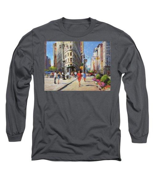 Summer Morning At Flatiron Plaza Long Sleeve T-Shirt