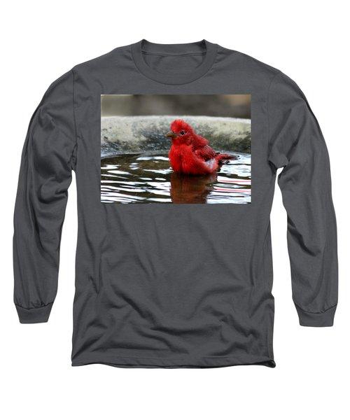 Summer Tanager In Bird Bath Long Sleeve T-Shirt