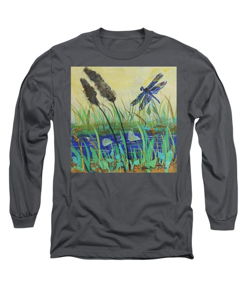 Long Sleeve T-Shirt featuring the painting Summertime Dragonfly by Robin Maria Pedrero
