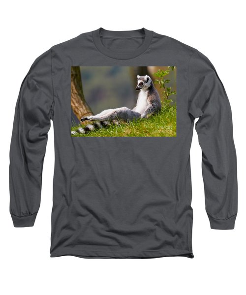 Sun Bathing Ring-tailed Lemur  Long Sleeve T-Shirt