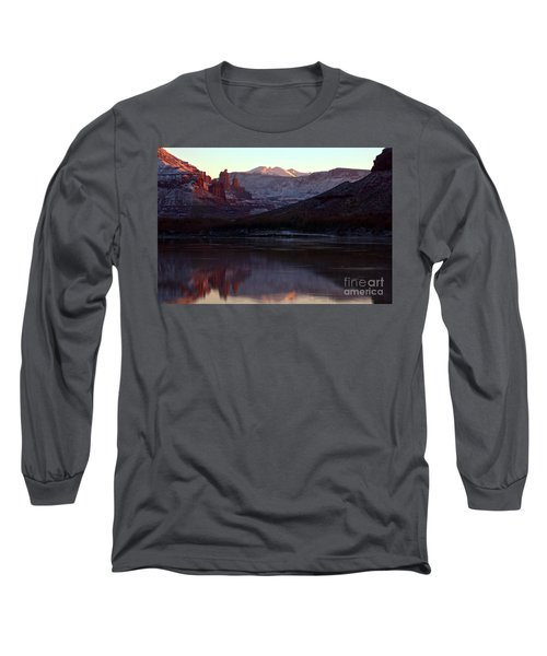 Long Sleeve T-Shirt featuring the photograph Sun Down At Fisher Towers by Adam Jewell