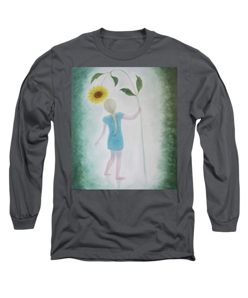 Long Sleeve T-Shirt featuring the painting Sun Flower Dance by Tone Aanderaa