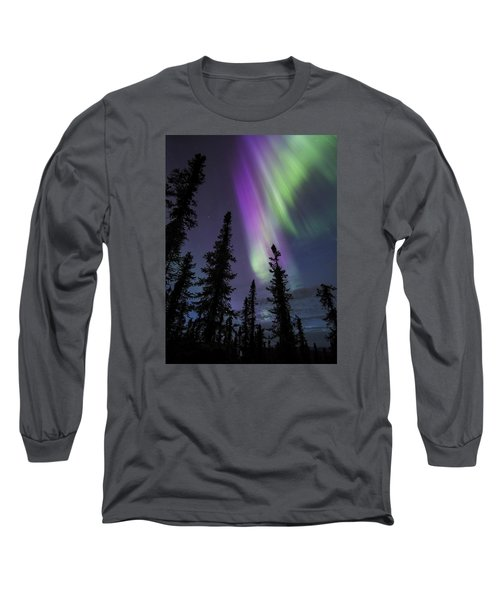 Sun-kissed Aurora Above The Spruces Long Sleeve T-Shirt