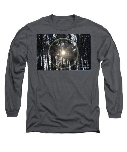 Sun Or Lens Flare In Between The Woods -georgia Long Sleeve T-Shirt