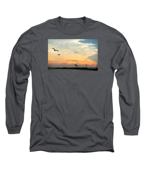 Sun Setting Over The Lake   Long Sleeve T-Shirt by Yumi Johnson