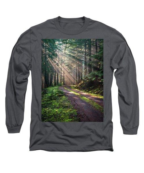 Sunbeam In Trees Portrait Long Sleeve T-Shirt