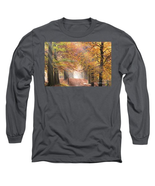 Sunbeams In A Forest In Autumn Long Sleeve T-Shirt