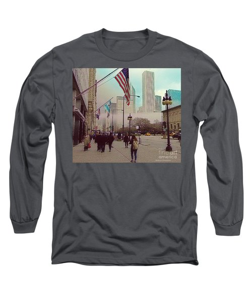 Sunday In The City Long Sleeve T-Shirt by Kathie Chicoine