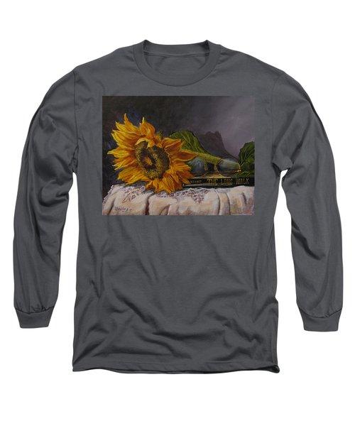Sunflower And Book Long Sleeve T-Shirt