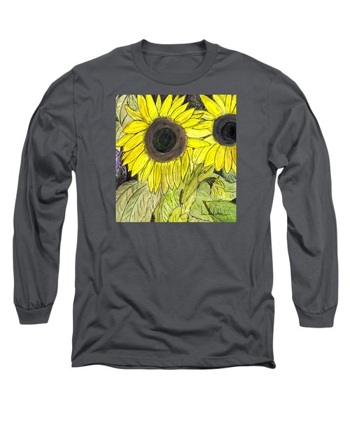 Long Sleeve T-Shirt featuring the painting Sunflowers by Lou Belcher