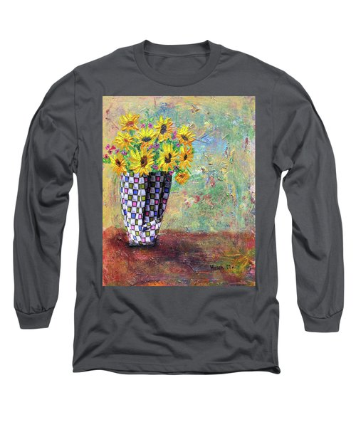 Sunflowers Warmth Long Sleeve T-Shirt by Haleh Mahbod