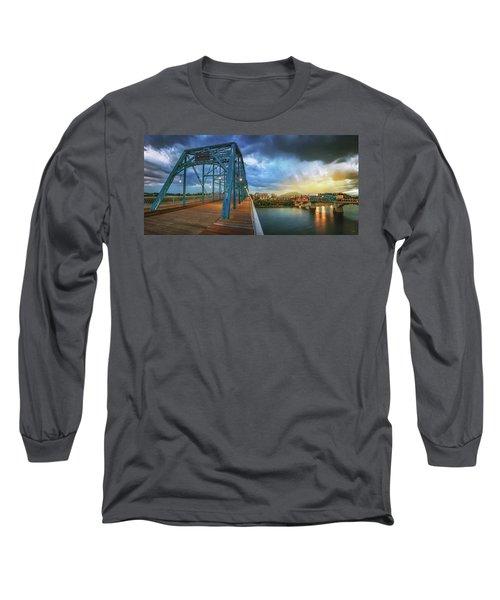 Sunlight Thru Rain Over Chattanooga Long Sleeve T-Shirt by Steven Llorca
