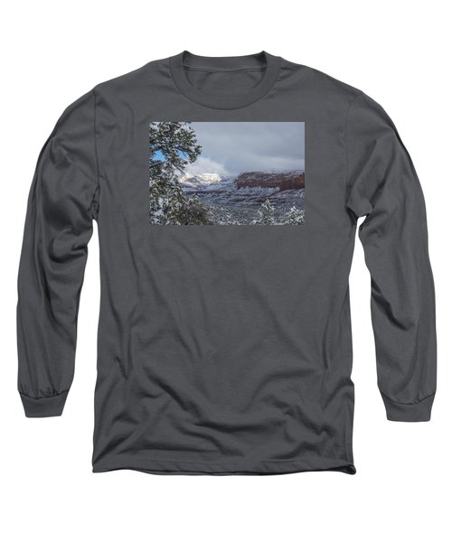 Long Sleeve T-Shirt featuring the photograph Sunlit Snowy Cliff by Laura Pratt
