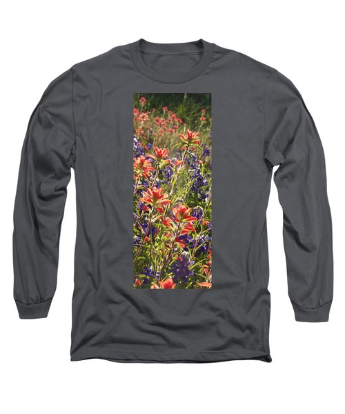 Long Sleeve T-Shirt featuring the painting Sunlit Wild Flowers by Karen Kennedy Chatham
