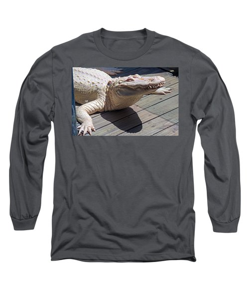 Sunning Albino Alligator Long Sleeve T-Shirt by Kenneth Albin