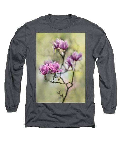 Long Sleeve T-Shirt featuring the photograph Sunny Impression With Pink Magnolias by Jaroslaw Blaminsky