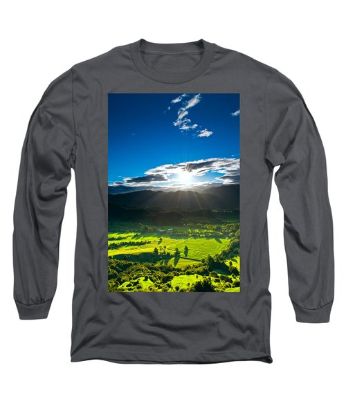 Sunrays Flood Farmland During Sunset Long Sleeve T-Shirt
