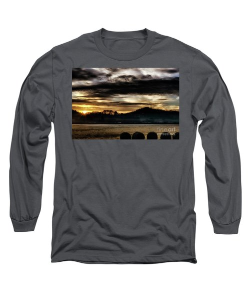 Long Sleeve T-Shirt featuring the photograph Sunrise And Hay Bales by Thomas R Fletcher