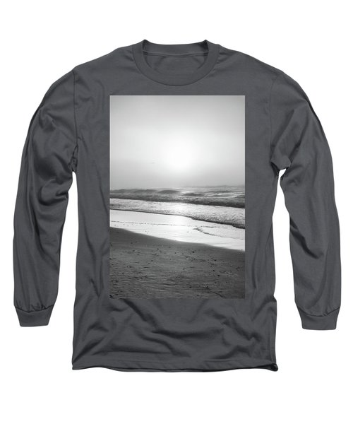 Long Sleeve T-Shirt featuring the photograph Sunrise At Beach Black And White  by John McGraw