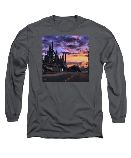 Long Sleeve T-Shirt featuring the photograph Sunrise At Steelstacks by DJ Florek