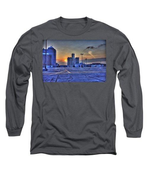 Sunrise In Detroit Mi Long Sleeve T-Shirt by Nicholas  Grunas