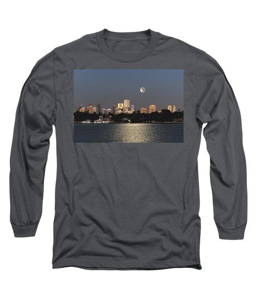 Sunrise Moon Over Miami Long Sleeve T-Shirt by Gary Dean Mercer Clark