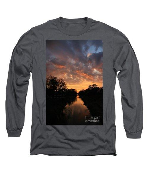 Sunrise On The Illinois Michigan Canal Long Sleeve T-Shirt