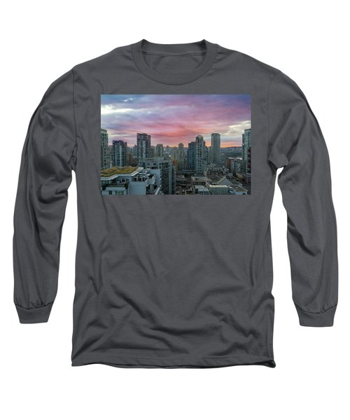 Sunrise Over Downtown Vancouver Bc Long Sleeve T-Shirt