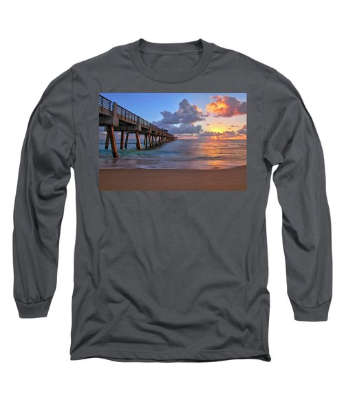 Sunrise Over Juno Beach Pier In Florida Long Sleeve T-Shirt