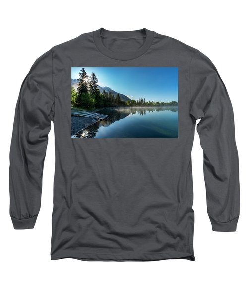 Long Sleeve T-Shirt featuring the photograph Sunrise Over The Mountain And Through The Tree by Darcy Michaelchuk