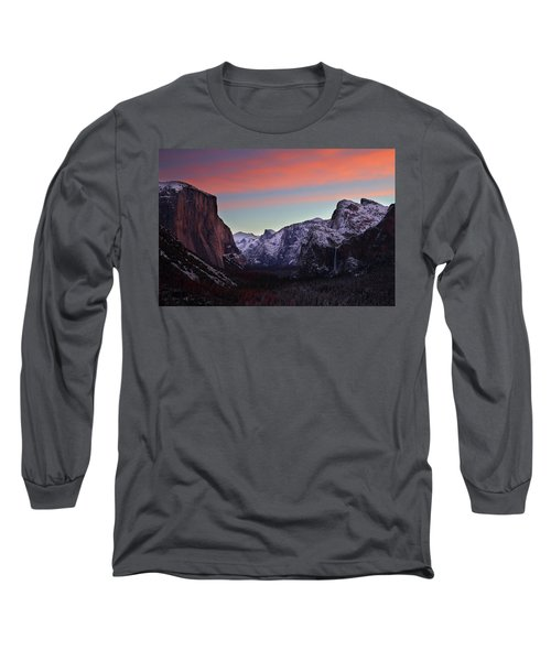 Long Sleeve T-Shirt featuring the photograph Sunrise Over Yosemite Valley In Winter by Jetson Nguyen