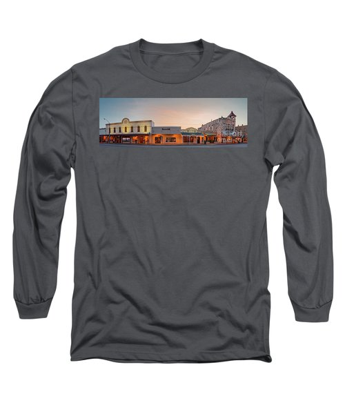 Sunrise Panorama Of Downtown Fredericksburg Historic District - Gillespie County Texas Hill Country Long Sleeve T-Shirt