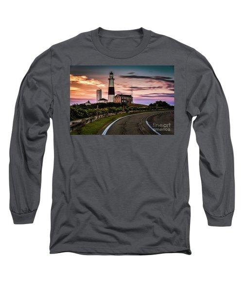 Sunrise Road To The Montauk Lighthous Long Sleeve T-Shirt