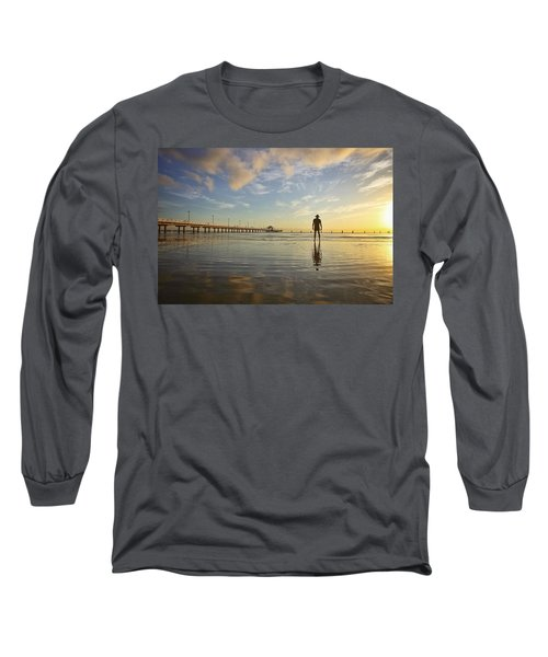 Sunrise Silhouette Down By The Pier. Long Sleeve T-Shirt