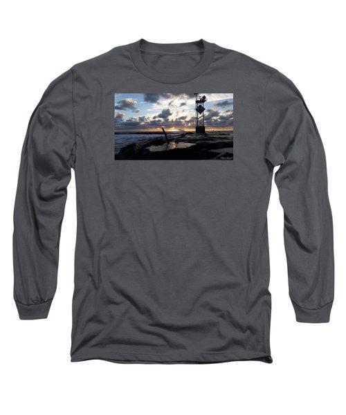 Sunrise Splash On The Jetty Long Sleeve T-Shirt by Robert Banach
