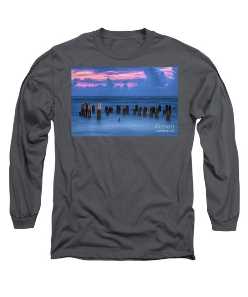 Long Sleeve T-Shirt featuring the photograph Sunrise Wharf On Ocracoke Island Outer Banks by Dan Carmichael