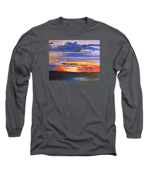 Long Sleeve T-Shirt featuring the painting Sunset #5 by Donna Blossom