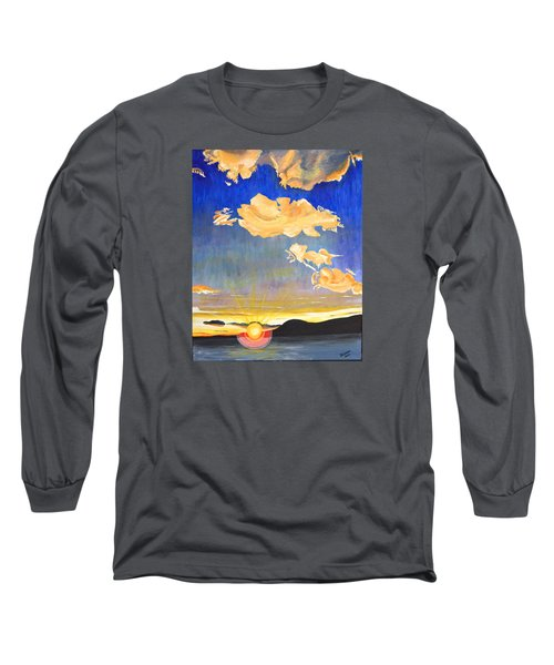 Long Sleeve T-Shirt featuring the painting Sunset #6 by Donna Blossom