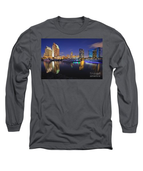 Sunset At Embarcadero Marina Park In San Diego Long Sleeve T-Shirt