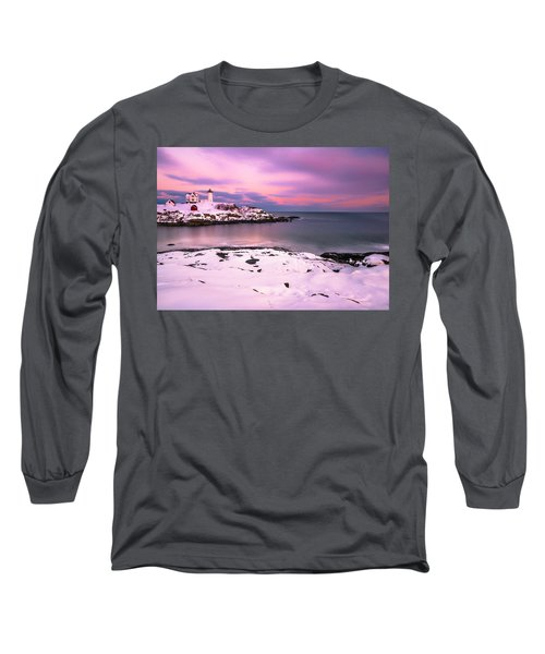 Long Sleeve T-Shirt featuring the photograph Sunset At Nubble Lighthouse In Maine In Winter Snow by Ranjay Mitra