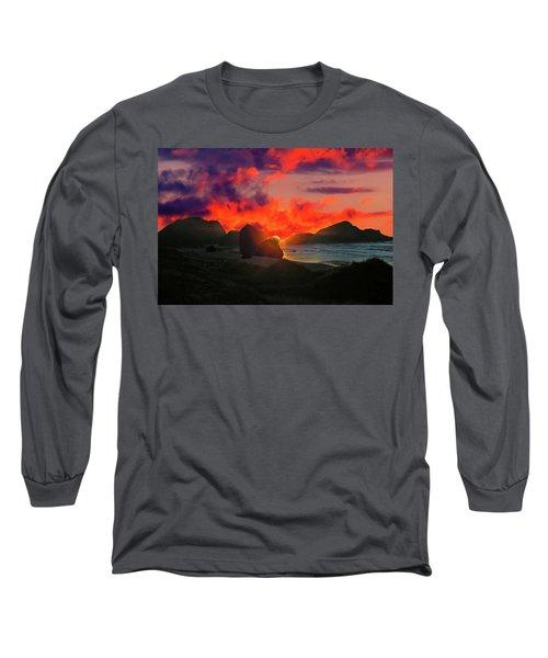 Sunset At Oregon Beach Long Sleeve T-Shirt