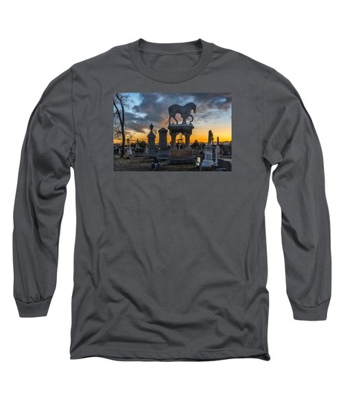Sunset At Riverside Cemetery Long Sleeve T-Shirt by Stephen  Johnson